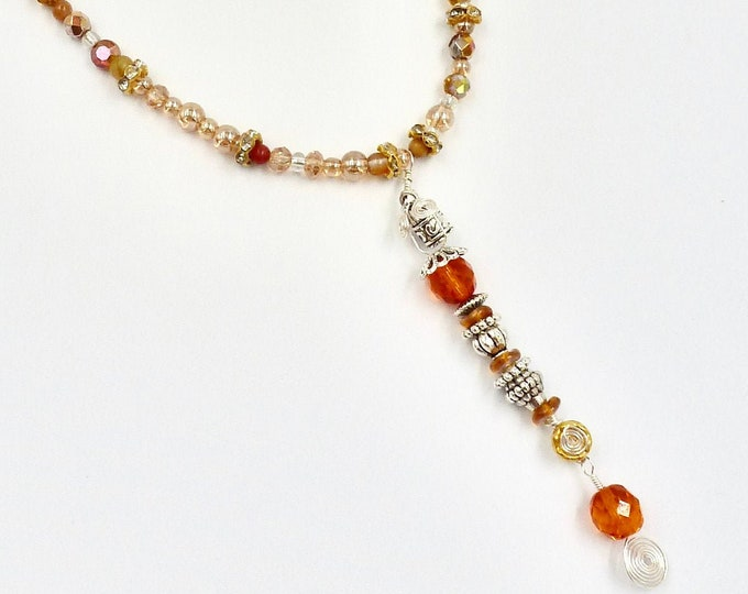 Colourful Orange Beaded Pendant Necklace