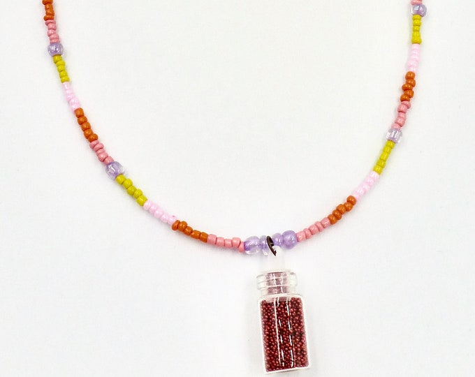 Red Micro Beaded Necklace