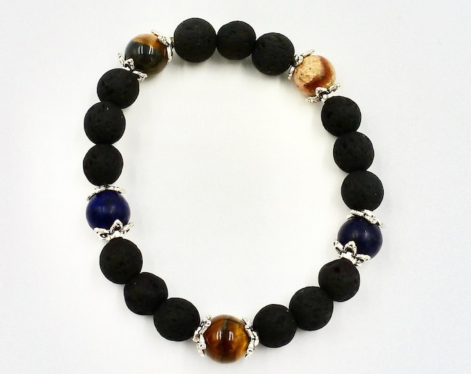 Natural and Navy Lava Stone Bracelets