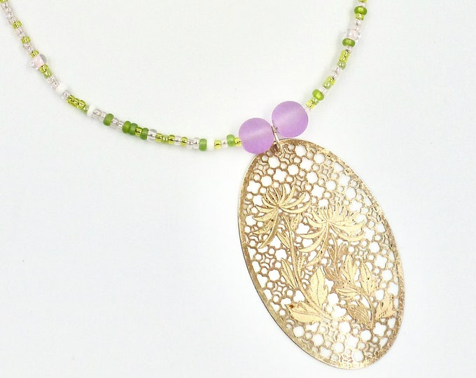 Gold Dandelion Window Pendant Beaded Necklace