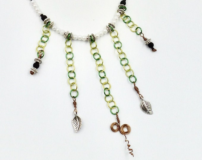 5 Strand Green Chain Beaded Necklace