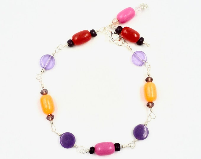 Beaded Bracelets, Linked Bracelets, Colourful Bracelets, Silver Bracelets, Pink Bracelets, Jewellery Gifts, Birthday Gifts, Mothers Day Gift