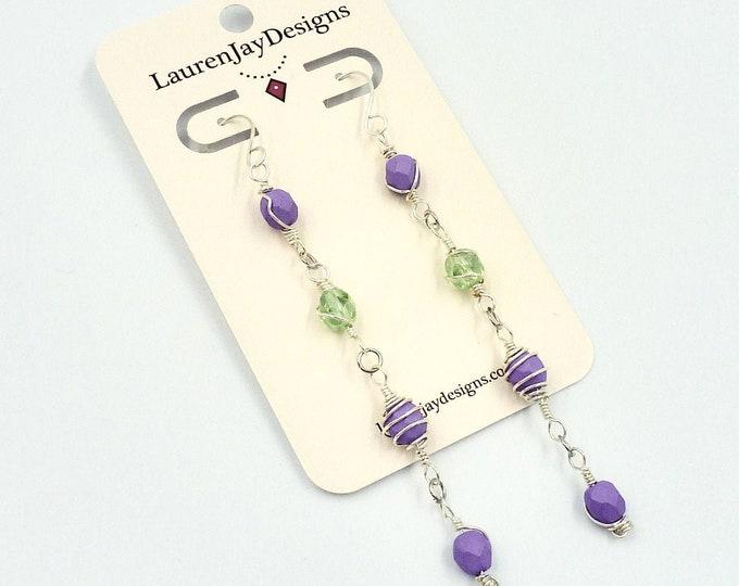 Purple and Green Dangle Earrings