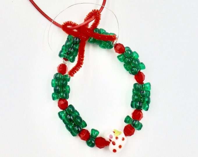 Christmas Wreath Pendant Necklaces