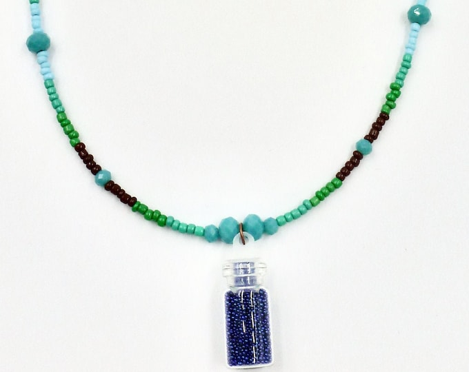 Navy Micro Beaded Necklace
