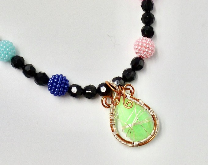 Green Rhinestone Beaded Necklace