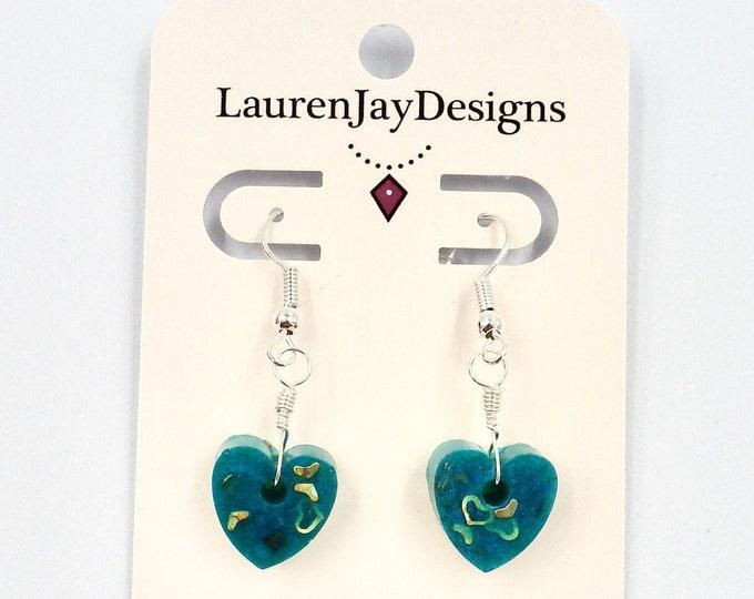 Handmade Resin Heart Dangle Earrings