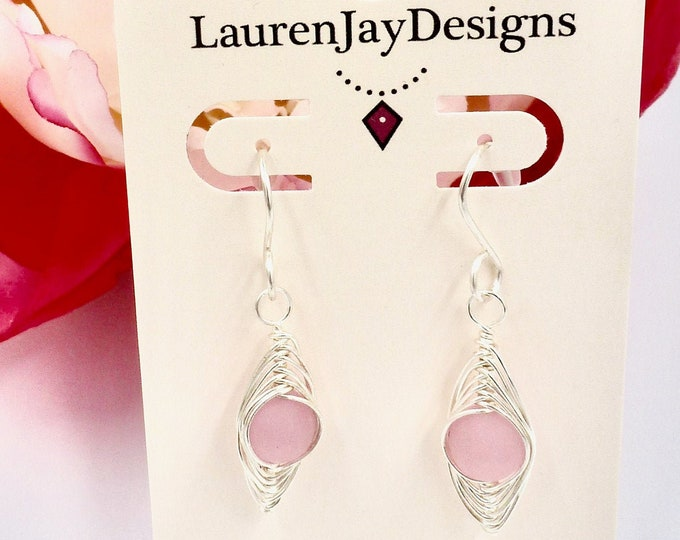 Pink Herringbone Dangle Earrings