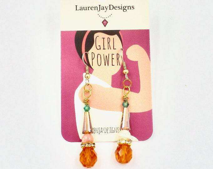 Orange, Brown and Green Dangle Earrings