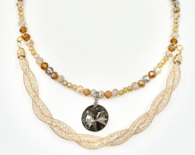 Double Rhinestone Crystal Beaded Necklace