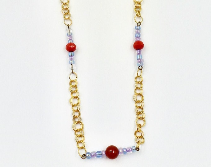 Chain Necklaces, Chainmail Necklaces, Gold Necklaces, Beaded Necklaces, Agate Necklaces, Red Necklaces, Birthday Gifts, Gifts for Her, Gifts