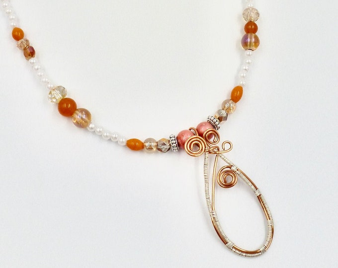 Wire Wrapped Peach Punch Beaded Necklace