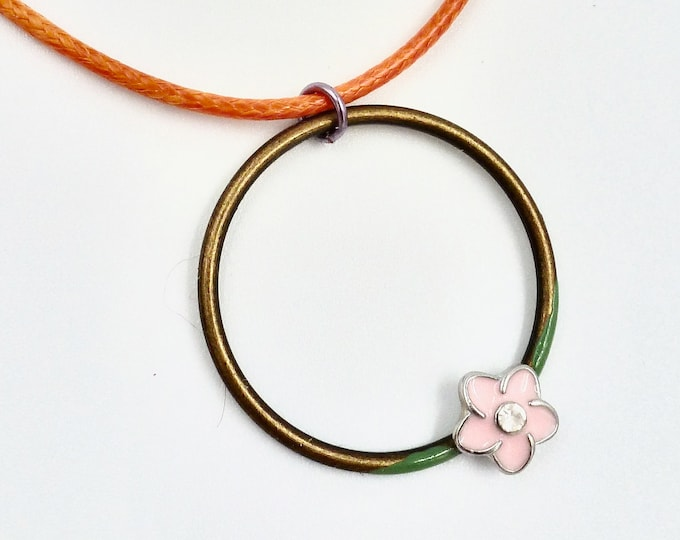 Pink Floral Ring Pendant Necklace