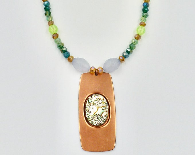Copper Metal and Green Stone Pendant Necklace