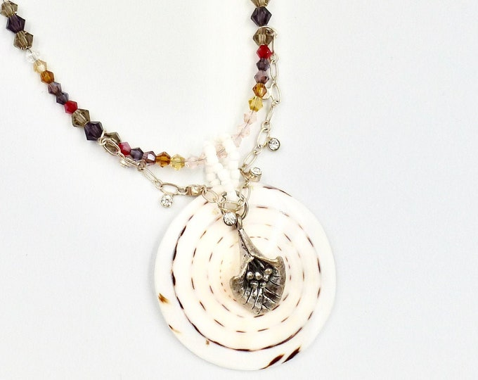 Large Shell Pendant Beaded Necklace