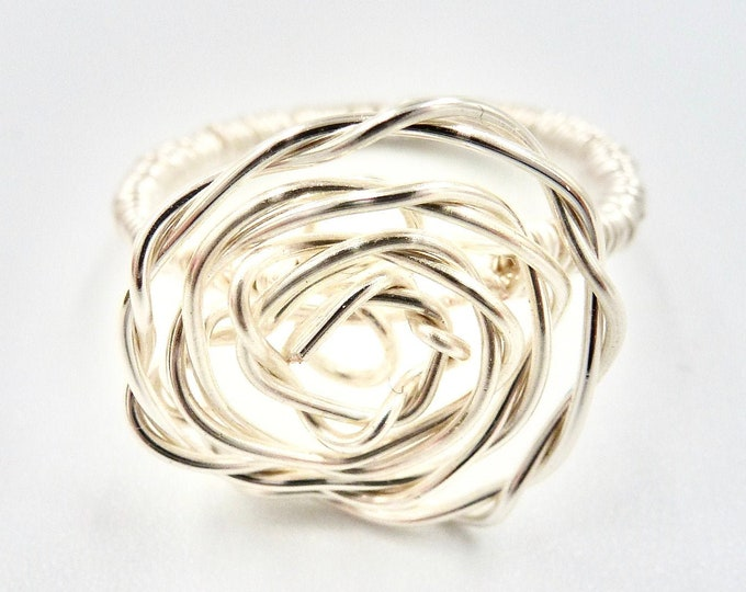 Rings, Silver Ring, Rings for Women, Rings Silver, Rings Size, Ring, Accessories, Wire Wrapped Ring, Rose Ring, Floral Ring, Flower Ring