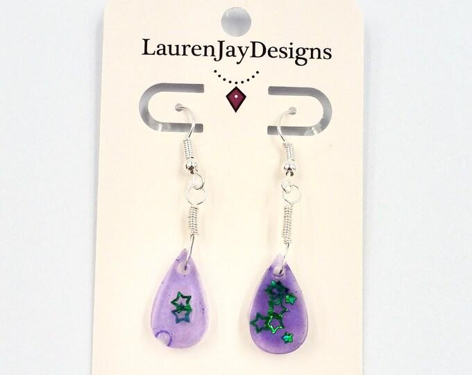 Purple Resin Teardrop Dangle Earrings