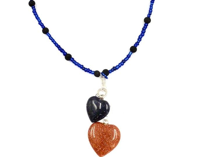 Heart Pendant Lava Rock Navy Beaded Necklace