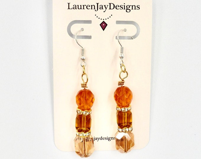 Orange, Brown and Gold Dangle Earrings