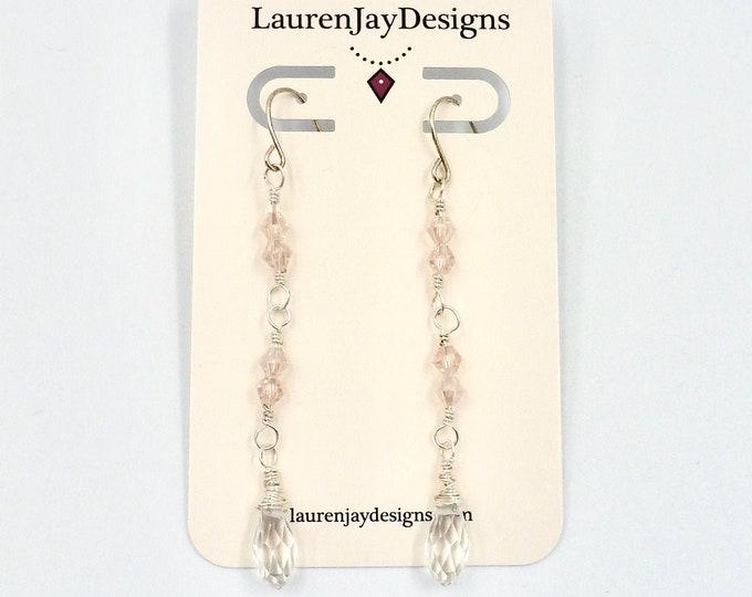 Dangle Earrings, Crystal Earrings, Pink Earrings, Beaded Earrings, Long Earrings, Jewellery Gifts, Birthday Gifts, Fun Gifts, Gifts for Her