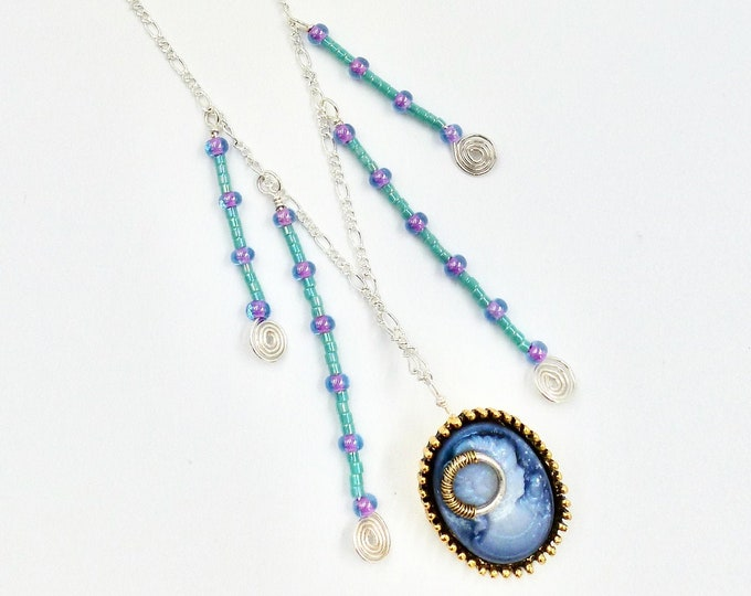 Blue Cameo Chain Necklace