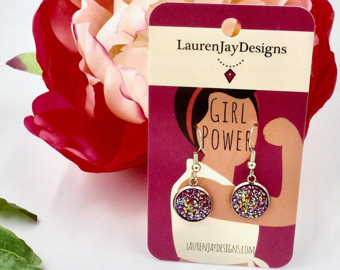 Druzy Earrings, Dangle Earrings, Crystal Earrings, Colourful Earrings, Vacation Earrings, Gifts for Her, Birthday Gifts, Bridesmaid Gifts