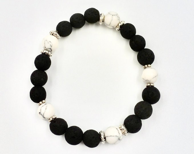 5 White Marbled Accent Beaded Bracelet