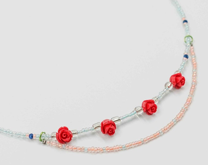 Rose Double Strand Beaded Necklace