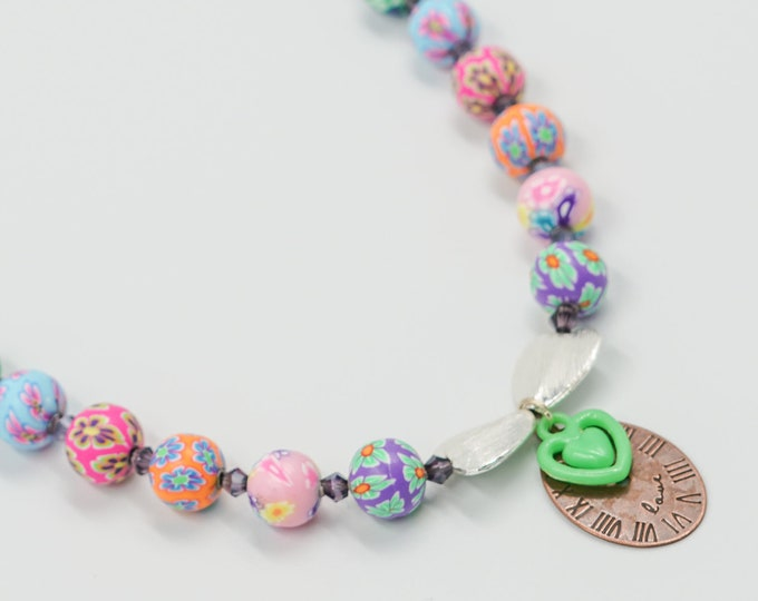Clock Pendant Colourful Beaded Necklace