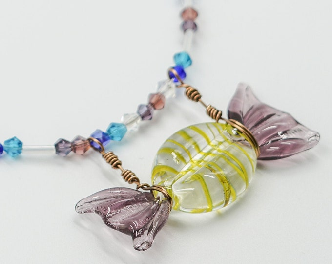 Purple Glass Candy Beaded Necklace