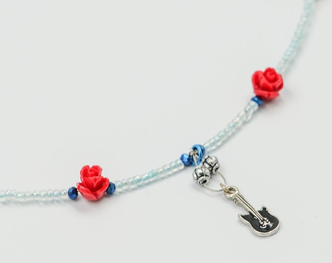 Guitar and Rose Beaded Necklace