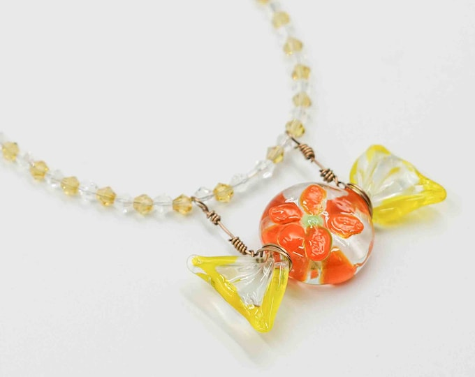 Floral Glass Candy Beaded Necklace