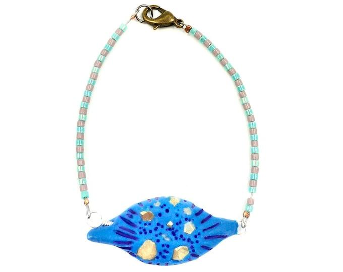 Blue Polymer Clay Pendant Beaded Bracelet