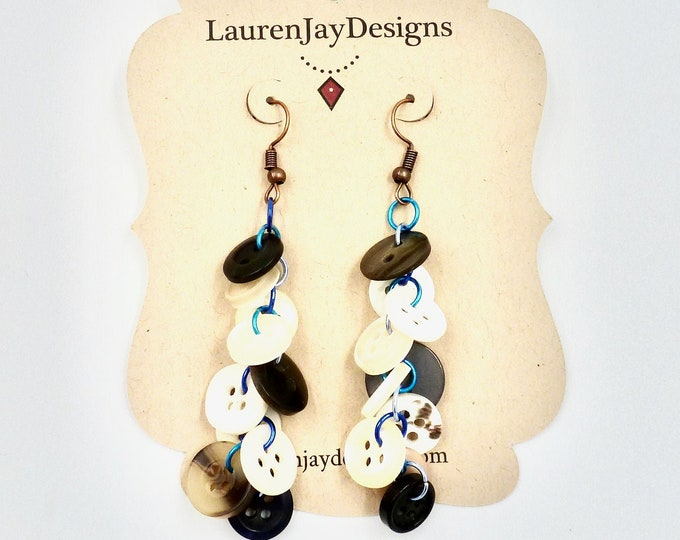 Speckled Button Dangle Earrings