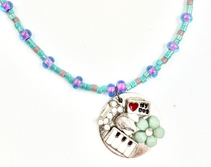 Floral Piano Puppy Love Pendant Beaded Necklace