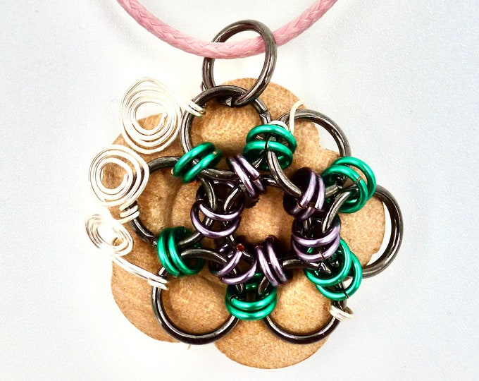 Flower Button Chain Mail Pendant Cord Necklace