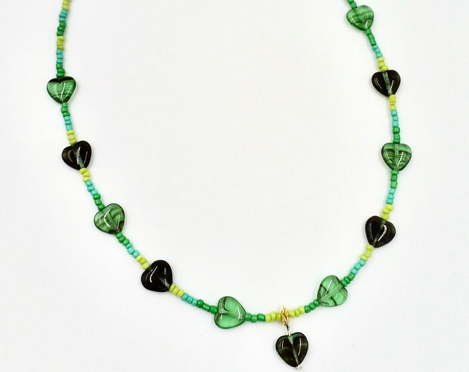 11 Heart Green Necklace