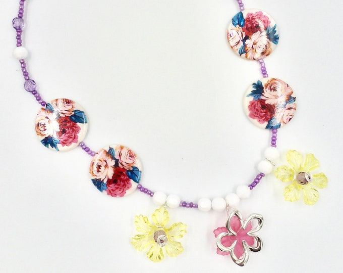 Silver Flower Pendant Colourful Floral Beaded Necklace