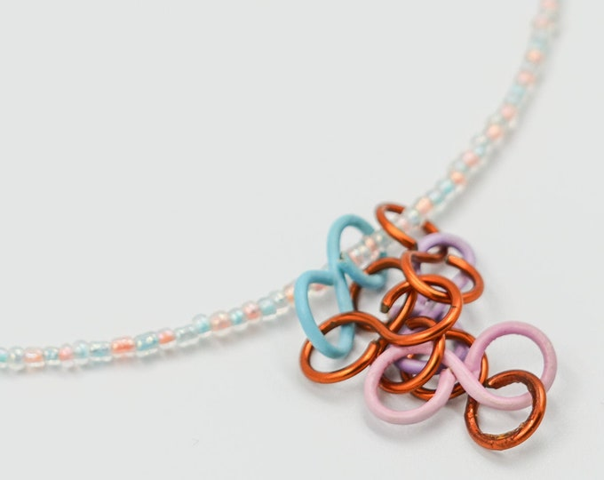 Colourful Chain Pendant Beaded Necklace