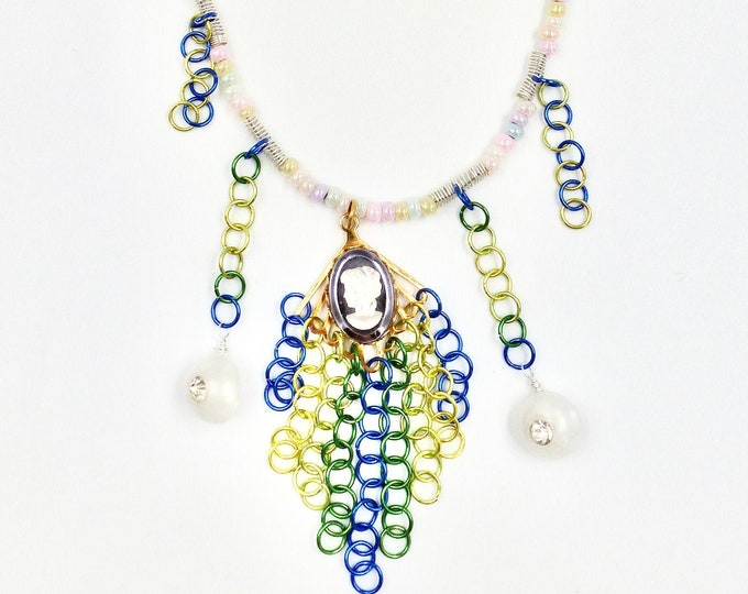 Cameo Pendant Chain Mail Beaded Necklace