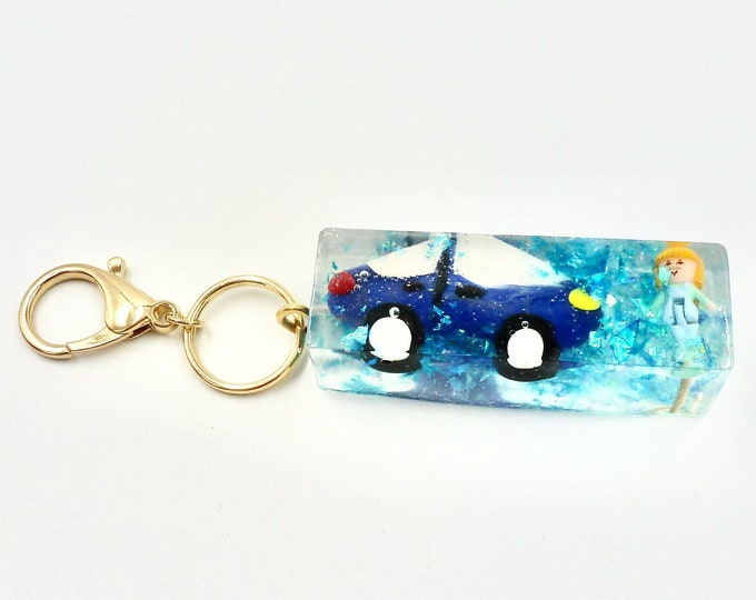 Polly Pocket Blue Car Resin Keychain