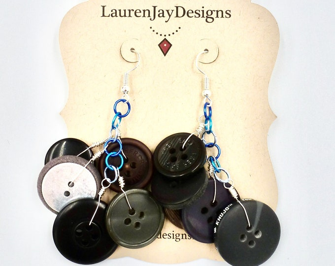 Black, Brown and Blue Button Dangle Earrings