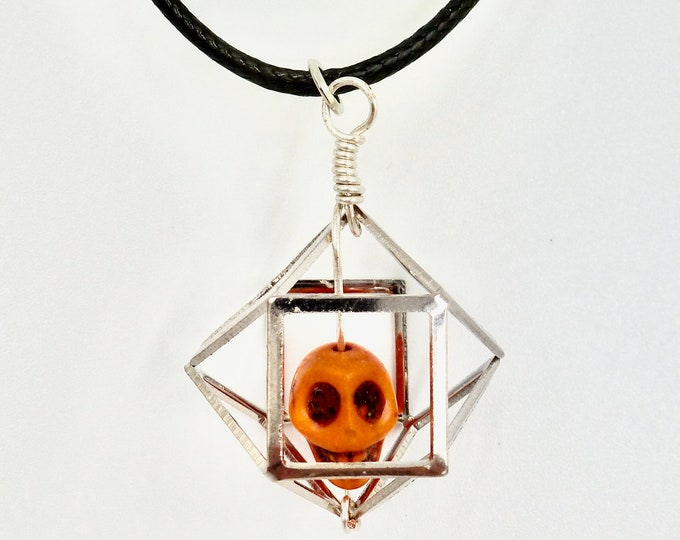 Skull Necklaces, Pendant Necklaces, Black Necklaces, Orange Pendants, Gothic Necklaces, Halloween Jewellery, Jewellery Gifts, Gifts for Her
