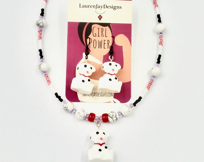 Dalmatian Jewellery Set, Dog Jewellery Set, Jewellery Sets, Beaded Necklace, Dangle Earrings, Birthday Gifts, Jewelry Gifts, Gifts for Girls