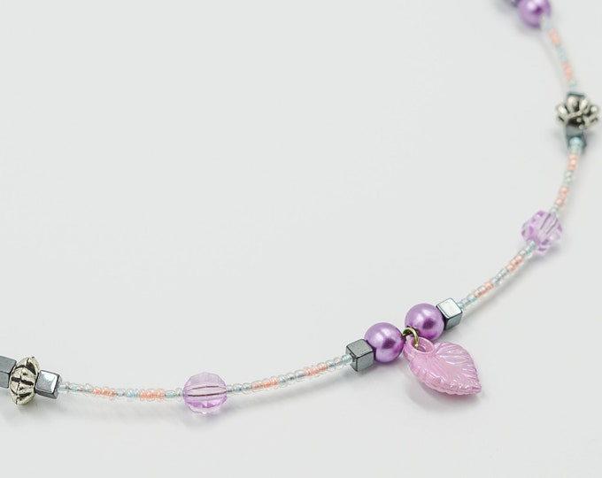 Purple Leaf Beaded Necklace