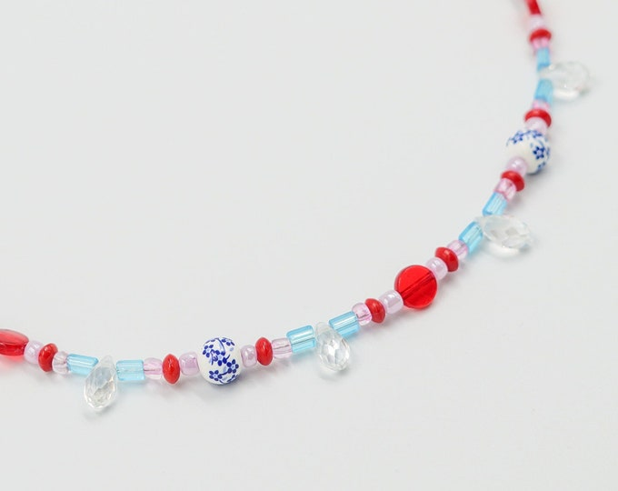 Pink, Red, White and Blue Floral Beaded Necklace