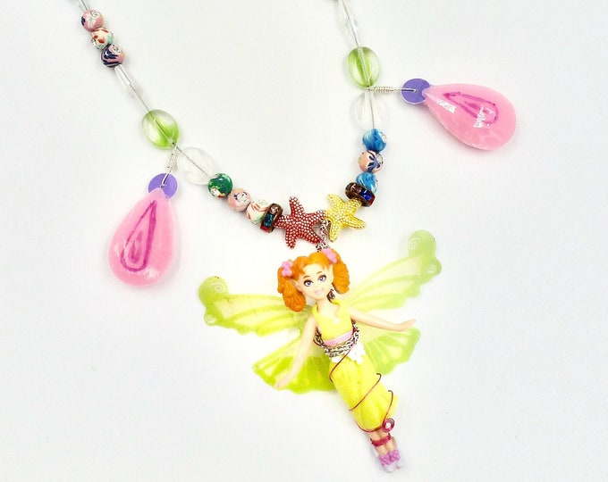 Fairy and Rhinestone Pendant Beaded Pendant