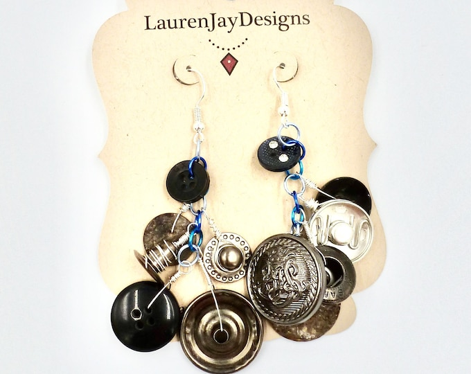 Unique Button Dangle Earrings