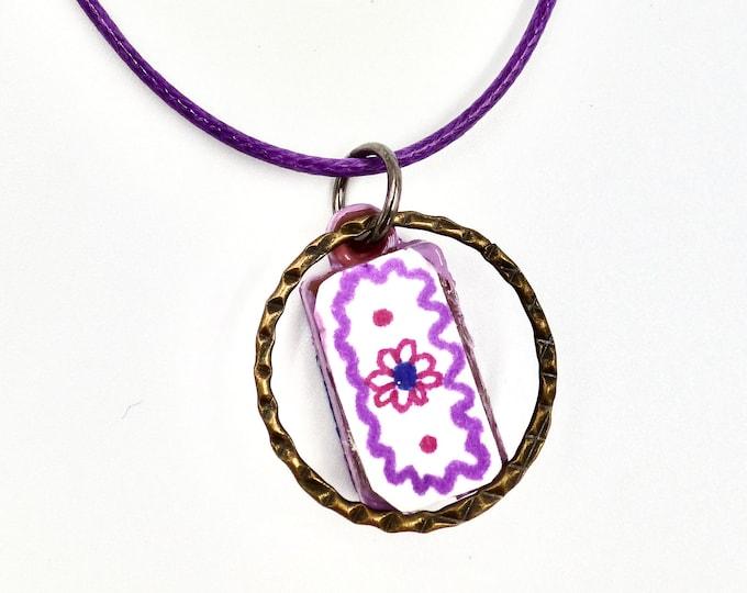 Purple Floral Pendant Cord Necklace