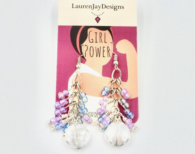 Crystal Purple and Blue Dangle Earrings